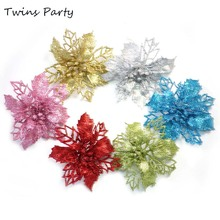 Twins 9.5cm 10Pcs Christmas Tree Ornament Artificial Flower Rosette Hanging Charm Party Decoration
