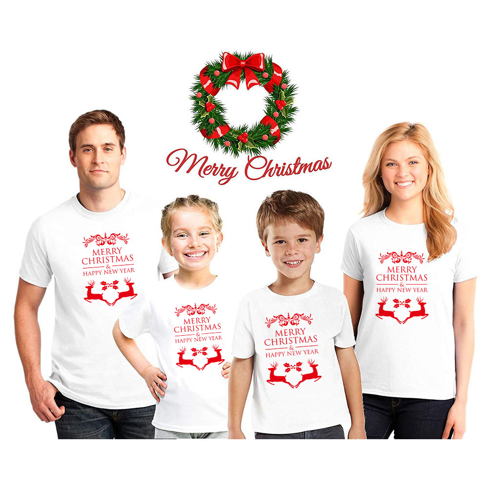 Merry Christmas Happy New Year Christmas Kids Girls Boy Mommy Tshirts Mother Daughter Clothes Matching Family Outfits
