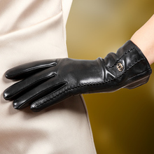 Womens Gloves Sheepskin Winter Thermal Autumn Ladies Real Leather Female Black Red Free Shipping L170NC-1