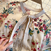 Women 2021 New Fashion Contrast Bow Round Neck Short Sleeve Slim Embroidery Flower A-line Dress Elegant Vestidos De Mujer R322 4