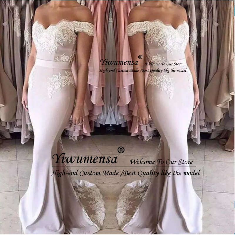 Mermaid Long   Bridesmaid     Dresses   Zipper Back Formal Wedding Party Gowns Off Shoulder Girls Junior Maid Of Honor   Dress   Cheap 2020