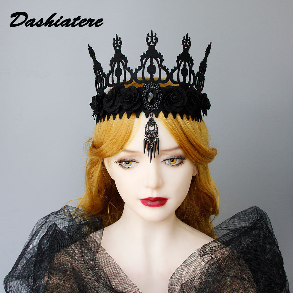 Gothic Forehead Crown Death Demon Devil Queen Jewelry Accessories For Women Spike Rivets Pendants Vintage Tiara Gothic Headpiece