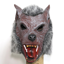 Wolf Full Head Face Mask with Hair Costumes Men Halloween Masquerade Scary Horror Cosplay Fancy Party Props Headgear Hood Masque
