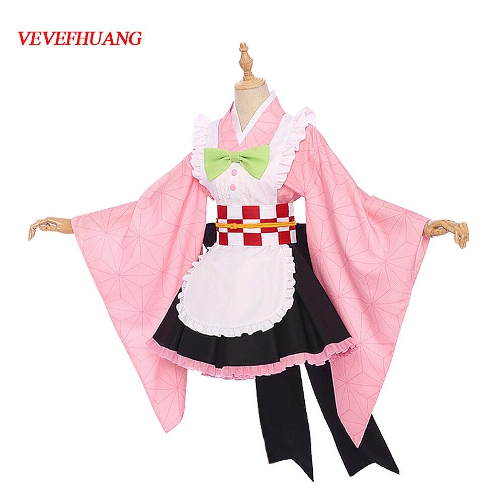 VEVEFHUANG Demon Slayer Kochou Shinobu Kamado Nezuko Kanroji Mitsuri Kibutsuji Muzan Kimono Maid Uniforms Cosplay Costume Party