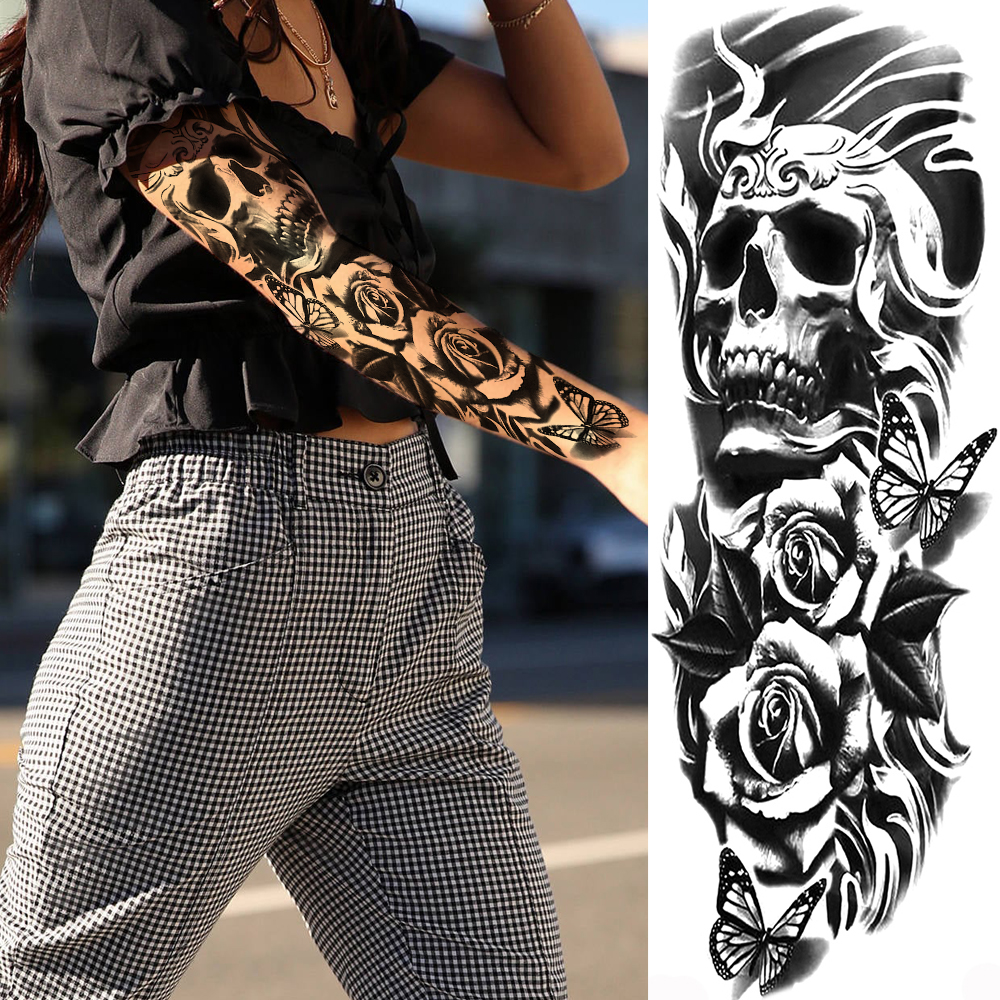 Devil Skull Skeleton King Temporary Tattoos For Men Women Body Art Full Arm Sleeve Flower Tatoo Waterproof Fake Tattoo Stickers
