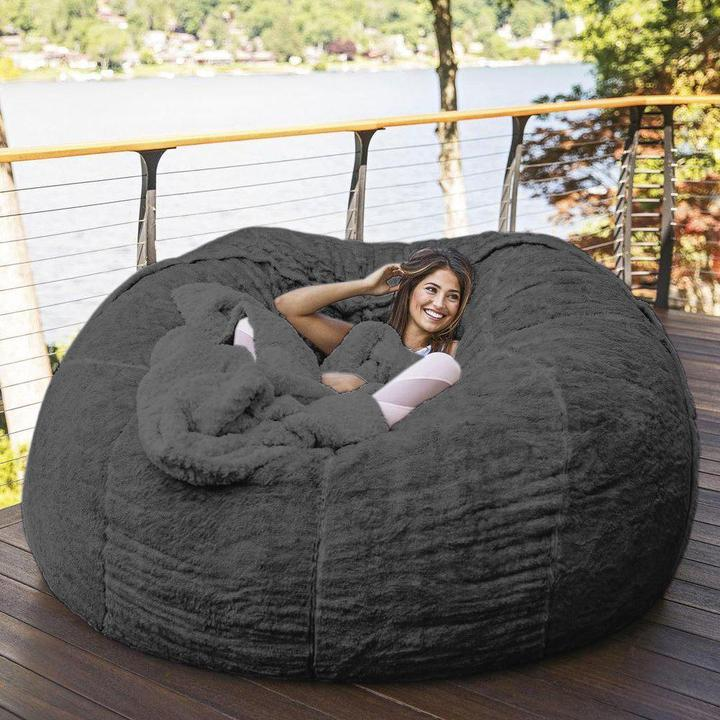 7-Foot Bean Bag Chair with Furry Fur Cover Machine Washable Big Size Sofa and Giant Lounger Furniture 1