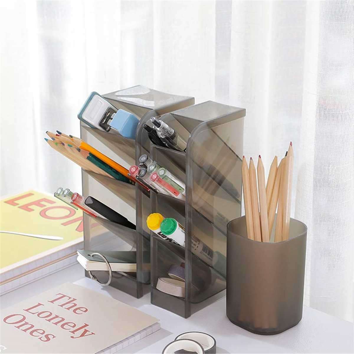 Home Storage Organizer Pencil Tube Home Office Supplies Pencil Cosmetic Pot Pen Holder Stationery Storage Rack Desktop Storage