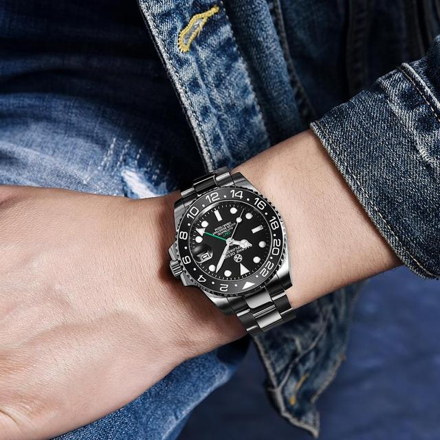 PAGRNE DESIGN Mens Watches Fashion GMT Brand Luxury Business Automatic Mechanical Watch Men Waterproof Watches Relogio Masculino 4
