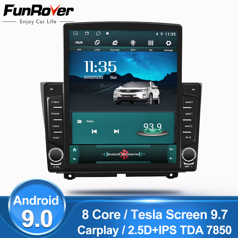 Funrover 9.7 Tesla screen Android 9.0 car multimedia Player radio gps Stereo For Lada Granta 2018 2019 2din 2.5D+IPS DSP no dvd image