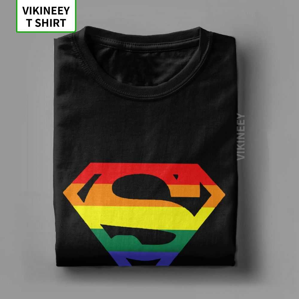 Camiseta Super Queer para hombre, arcoíris Gay lesbianas orgullo LGBTQ LGBT, ropa de talla grande, camiseta de manga corta, cuello redondo, camisetas de algodón, Tops