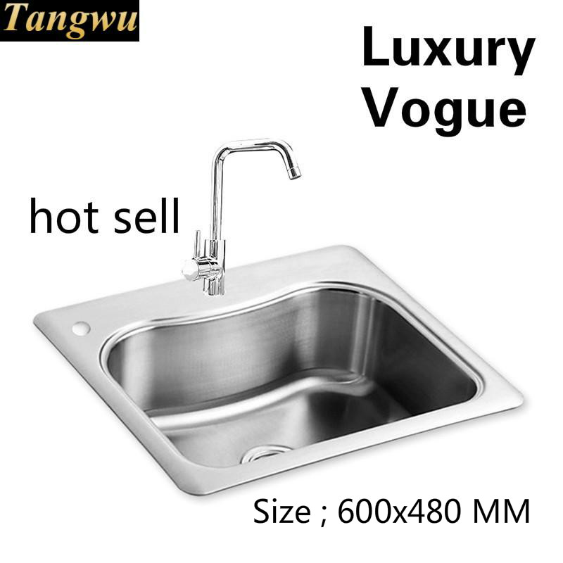 Free Shipping Standard Individuality Hot Sell Kitchen Sink Fashion Single Slot Food Grade 304 Stainless Steel 600x480 MM