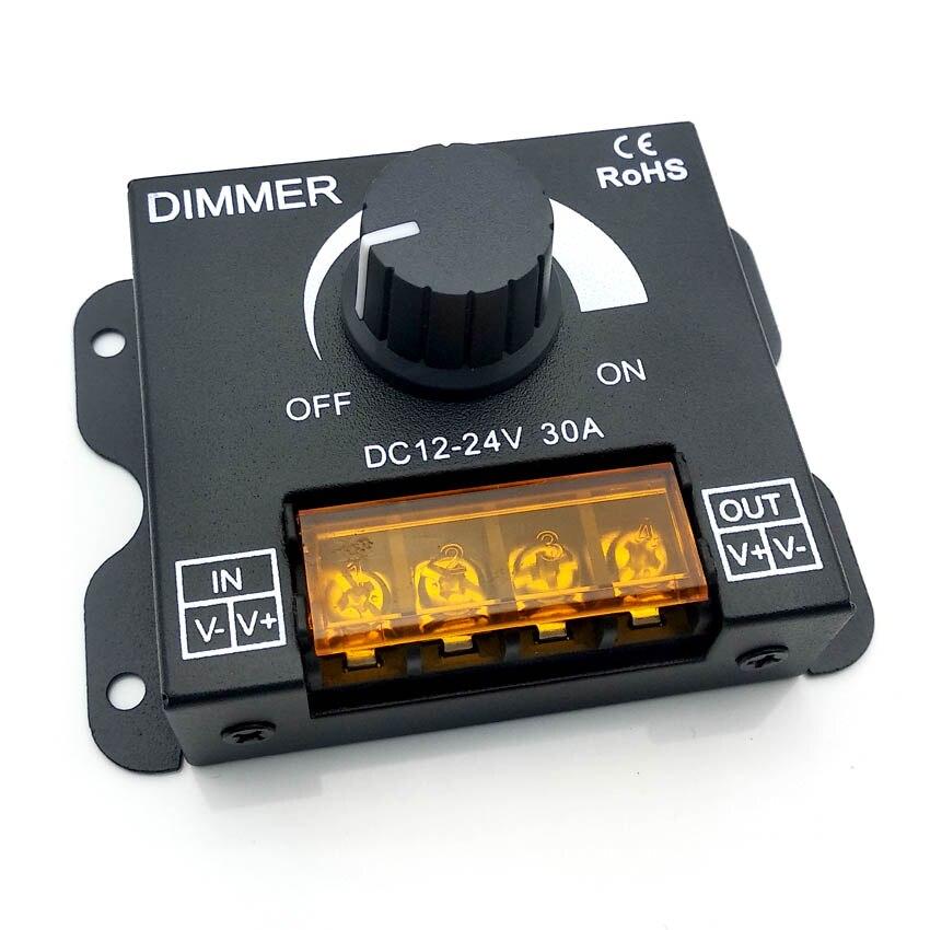 DC12V-24V LED Dimmer 8A 30A 96W 360W Adjustable Brightness Lamp Strip Light Driver Single Color LED Controller 5050 3528 Tape