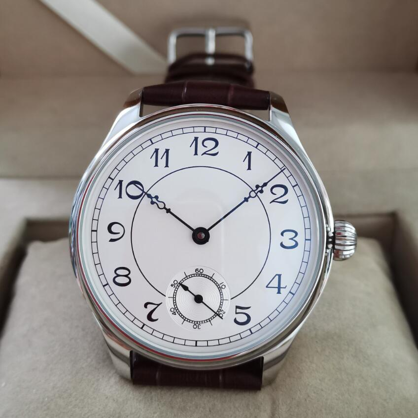 44mm not have logo Mechanical Hand Wind Men's Watch White dial Mineral glass/Sapphire Crystal Seagull st3621 movement G035