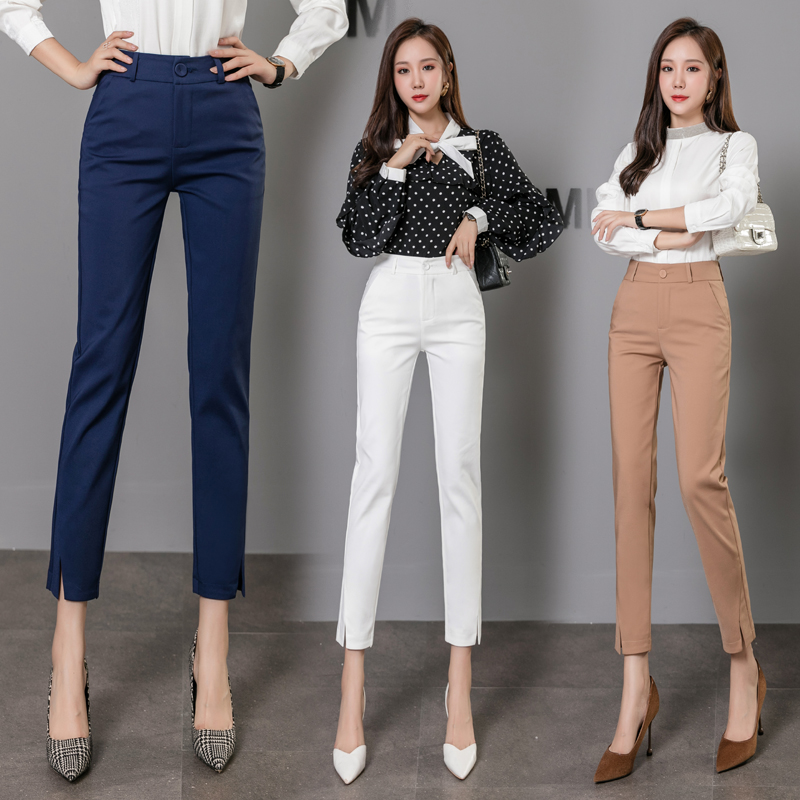 Рабочая одежда, высокое качество, эластичные тонкие офисные женские брюки ярких цветов, женские хлопковые повседневные брюки с высокой тал...
