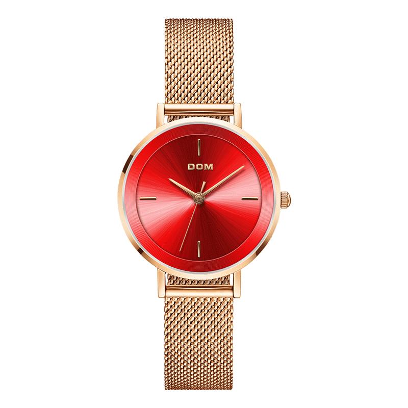 Watch Women DOM Top Brand Luxury Quartz watch Casual quartz-watch leather Mesh strap ultra thin clock Relog G-1307G-7M