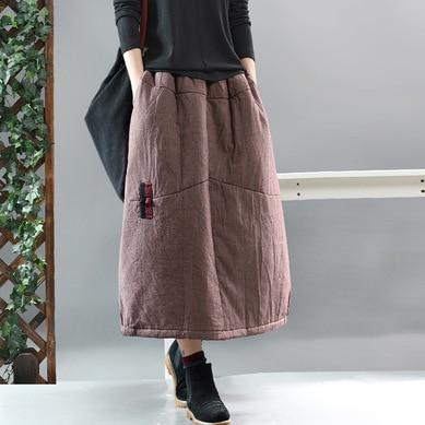 Winter Warm Women Retro Loose Cotton Padded Pocket Casual Skirts 2020 Spring New Ladies Elastic Waist Plaid Thicker Skirt