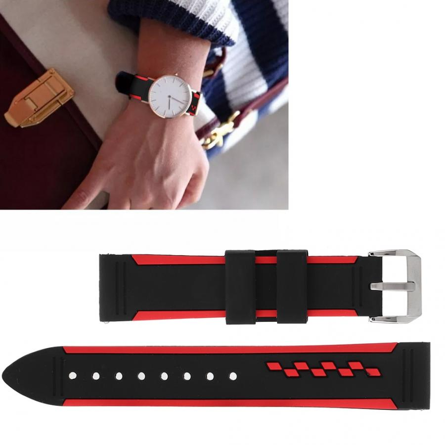 Watch Accessory 20mm Dust-Proof Silicone Dual-Color Watchband Strap Replacement Watch Band WristWatch Band Accessories