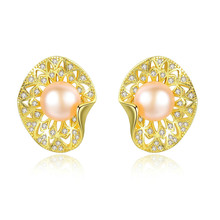 YUEYIN Silver 925 Stud Earrings Gold Plated Nature Pearl Shell Cute Korean Women Gothic