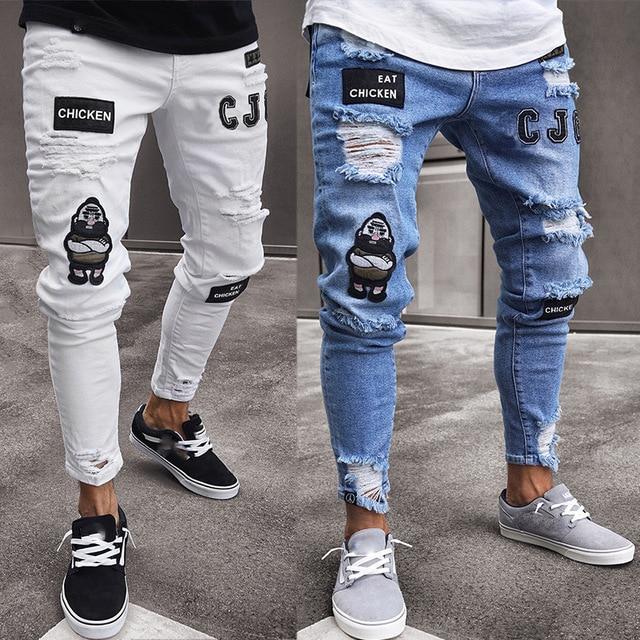 Slim Hip Hop Ripped Jeans for Men