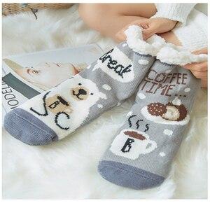 Image 5 - Mignon mouton dessin animé dames chaussettes hiver épais chaud chaussettes de sol doux respirant sommeil chaussettes nouvel an exquis cadeau chaussette de noël