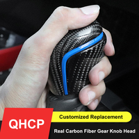 QHCP Car Gear Knob Head Customized Speed Shifter Head Real Carbon Fiber Rear View Mirror Cover For Toyota Camry Avalon 2018 2019