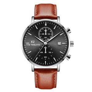 Image 4 - 2019 New Arrival Quartz Watches Men Genuine Leather Strap Chronograph Calendar Luxury Casual Vintage Watch X2 066G