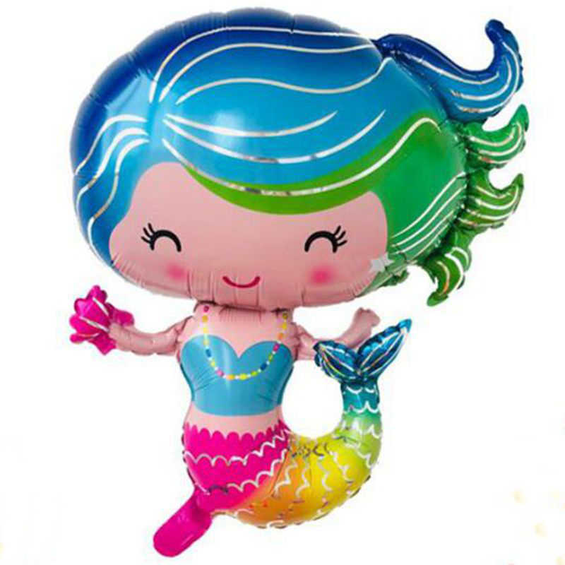 1 ชิ้น/ล็อต 60*74 ซม.Little Mermaid princess theme ฟอยล์บอลลูน happy birthday party decor baby shower บอลลูนอุปกรณ์