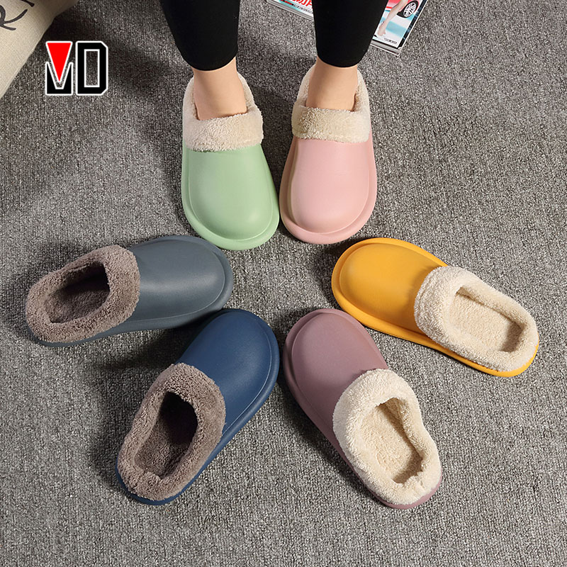 Winter/Autumn Slippers Lovers Cozy Outdoor Warm Plush Indoor Women Men Kitchen Shoes Anti Slip Soft EVA Waterproof Home Sneaker|Slippers| - AliExpress