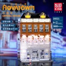 MOC Creator kryształowy dom cegły ulica miasta seria Model klocki dla dzieci kompatybilny z lepining 10224 prezenty
