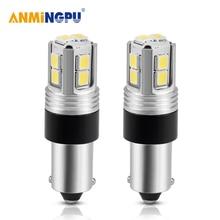 цена на AMNINGPU 2X Signal Lamp Led BA9S Bulbs 2835Chips 3W T4W Ba9s Canbus Roof lights Reading Lights License Plate Lights White 12V