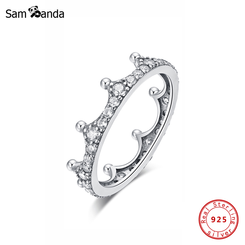 New Original 100% 925 Sterling Silver Ring Enchanted Crown Stackable Rings Vintage Clear CZ Tiara Shine Gold For Women Jewelry
