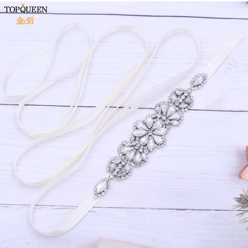 TOPQUEEN S464 Luxury Rhinestone Jeweled Belt Shiny Belts for Women Dress Wedding Dress Belt Bridal Wedding Accessories for Bride