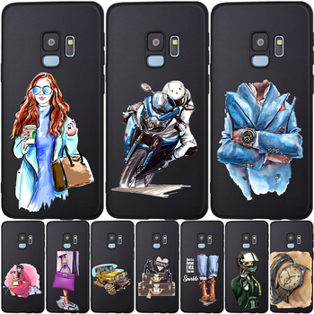 Fashion Girl Leather Bag Racer Black Phone Case For Samsung S20 ultra S11 S10 S9 S8 s20 Plus S7 Edge S10E S11E Cover Etui case image
