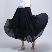 Pleated Skirt High Waist  New Style Long National Wild Section Faldas Mujer Moda 2019