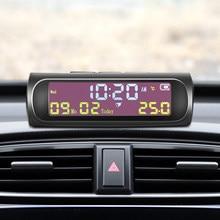 AN01 AN02 TPMS Look Solar Car zegar cyfrowy z datą czasu LCD wyświetlacz temperatury w samochodzie akcesoria do wnętrz samochodowych Dropshipping