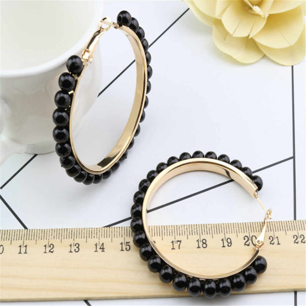 1 Pair Vintage Large Big Hoop Circle Pearl Earrings for Women Gold Silver Plated Ear Hoop Loop Earrings Jewelry Gift New Arrival