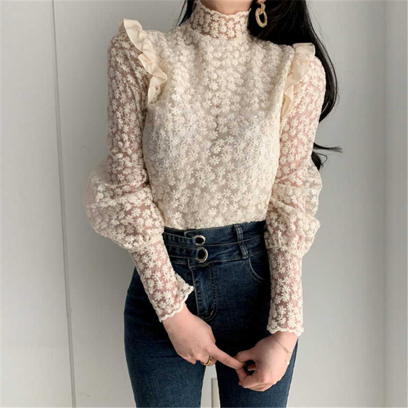 Alien Kitty 2020 Apricot Lace Delicate Turtleneck Floral Chic Basic Blouses All Match Elegant Casual Office Lady Loose Shirts