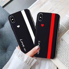 GYKZ Cute Love Heart Lover Couple Case For iPhone X 11Pro XS MAX XR 7 8 6 6s Plus You Me Black Silisone Soft Phone Cover Coque