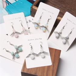 Natural stone beads angel wings charm Drop earrings for women fashion rose pink quartz Howlite gem stone cute earring girl gifts