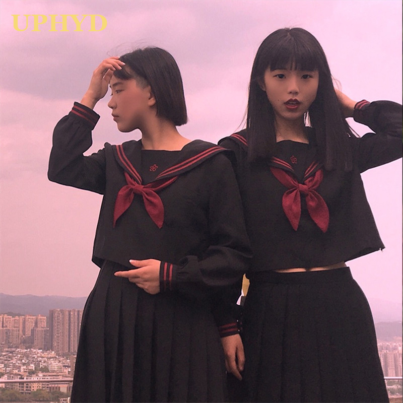 Black Japan High School Uniform Teen Girls Sailor Suits Novelty Women Cosplay Costume Student Uniforms