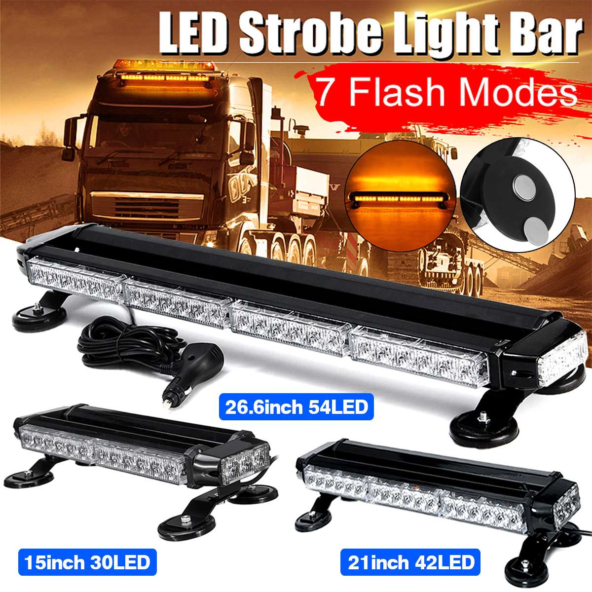 42 LED 4 Side Car Roof Advisor Beacon Strobe Flashing Security Warning Light Bar Emergency Light Magnetic 7 Flash Patterns