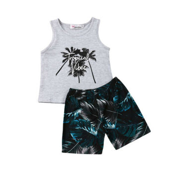 New 2-6Y Summer Toddler Clothes Sets Boys Print Sleeveless Vest Tops Baby Boy Print Short Pants Kids Outfits 2Pcs Clothing summer infant clothes cotton short sleeve tops pants baby toddler boy clothing sets kids children boys outfits suits