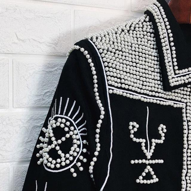 Pearls Beading Embroidery Short Suede Leather Jacket Men Autumn Long Sleeve Slim Fit Black Club Streetwear Punk Baseball Jacket