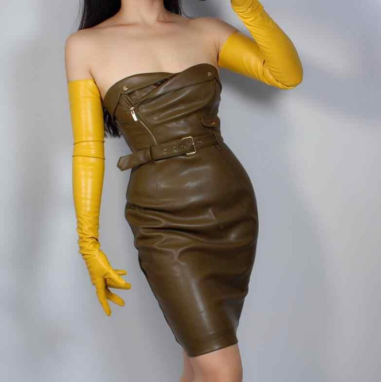 여자 패션 옐로우 컬러 섹시 슬림 가짜 pu 가죽 장갑 레이디의 클럽 성능 공식 파티 가죽 긴 장갑 50cm r2088