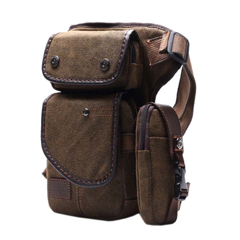 AOLAILUDI Brand New Men's Canvas Fashion Leg Bag Waist Pack Mobile Phone Bag Travel Motorcycle Leg Package Multi-Purpose Bags