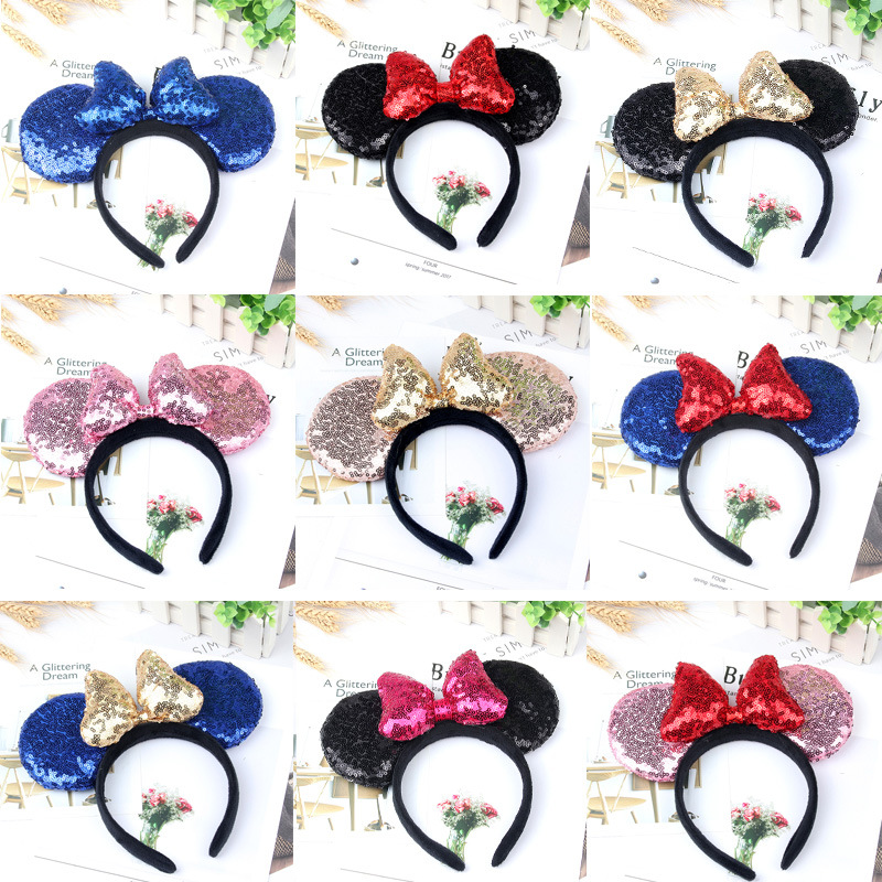 Disney Mickey Minnie Headband Accessories Plush Big Ear Hair Festive Cartoon Girls Party Ornaments Pretend Play Kawaii Toy Gifts