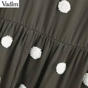 Image 5 - Vadim women elegant polka dots design mini dress V neck long sleeve female casual Straight style dresses vestidos QD044