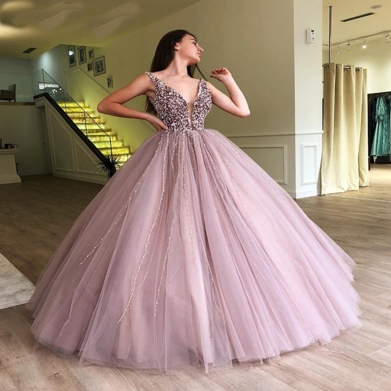 Charming Pearls Purple Tulle Sexy Long Evening Dresses 2020 Deep V-Neck Beading Evening Gown Elegant Ball Gown Prom Party Dress