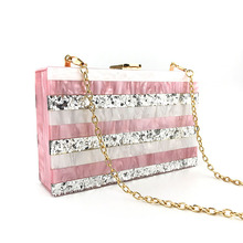 Acrylic Pink WomenS Messenger Bag Dinner Party Exquisite Workmanship Novel Trend Striped Beautiful Lock