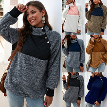 Autumn and winter new fashion sweater stitching high collar hit color female decoration body commuter wild top